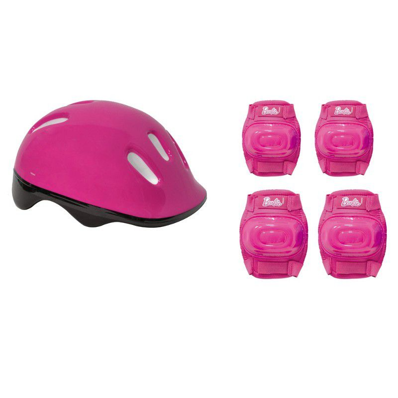 Patins Ajustáveis com Kit de Segurança 4 Rodas Tamanho 37 a 40 Barbie 80077 Fun Divirta-se