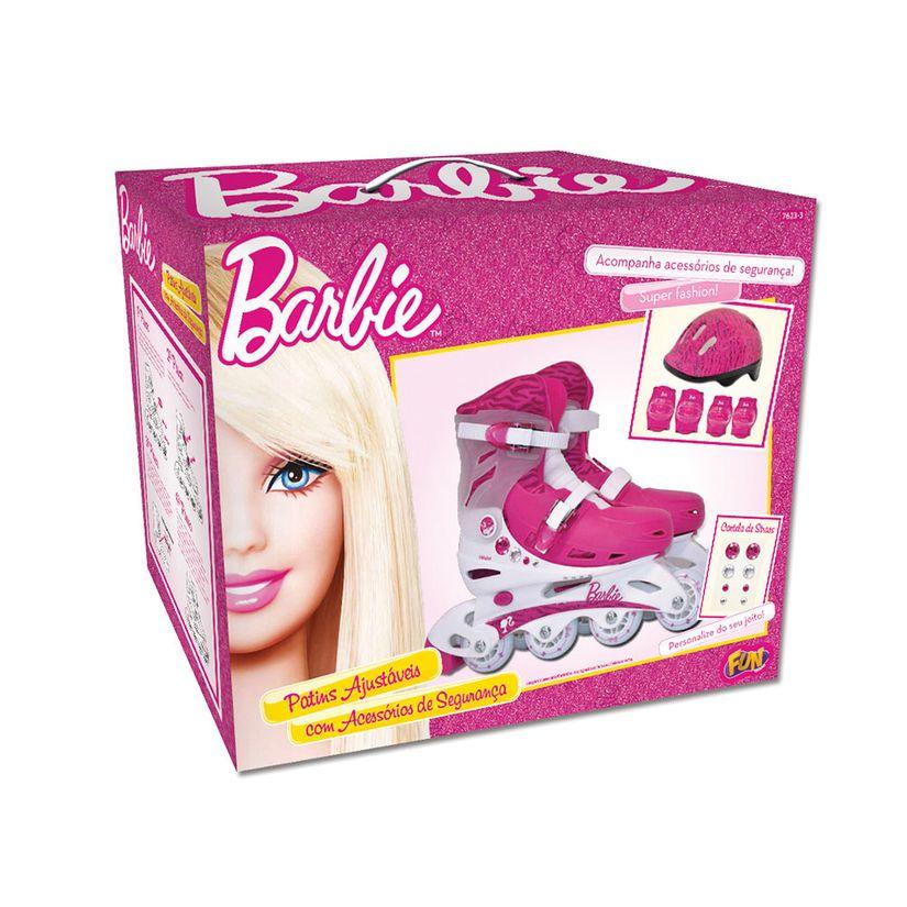 Patins Ajustáveis com Kit de Segurança 4 Rodas Tamanho 37 A 40 Barbie Fun Divirta-se