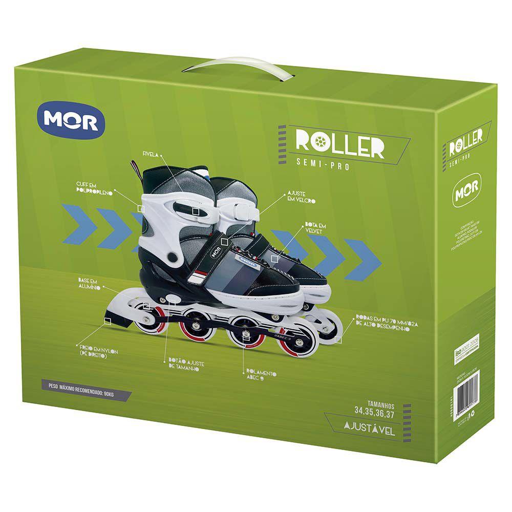 Roller Semi-Pro Cinza Tamanho M 34-37 Ref. 40600141 MOR
