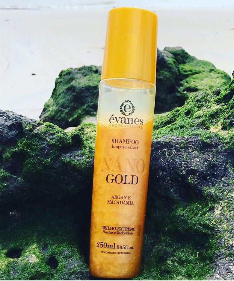 Shampoo Nano Gold Brilho Extremo Argan e Macadâmia 250ml Évanes Professional