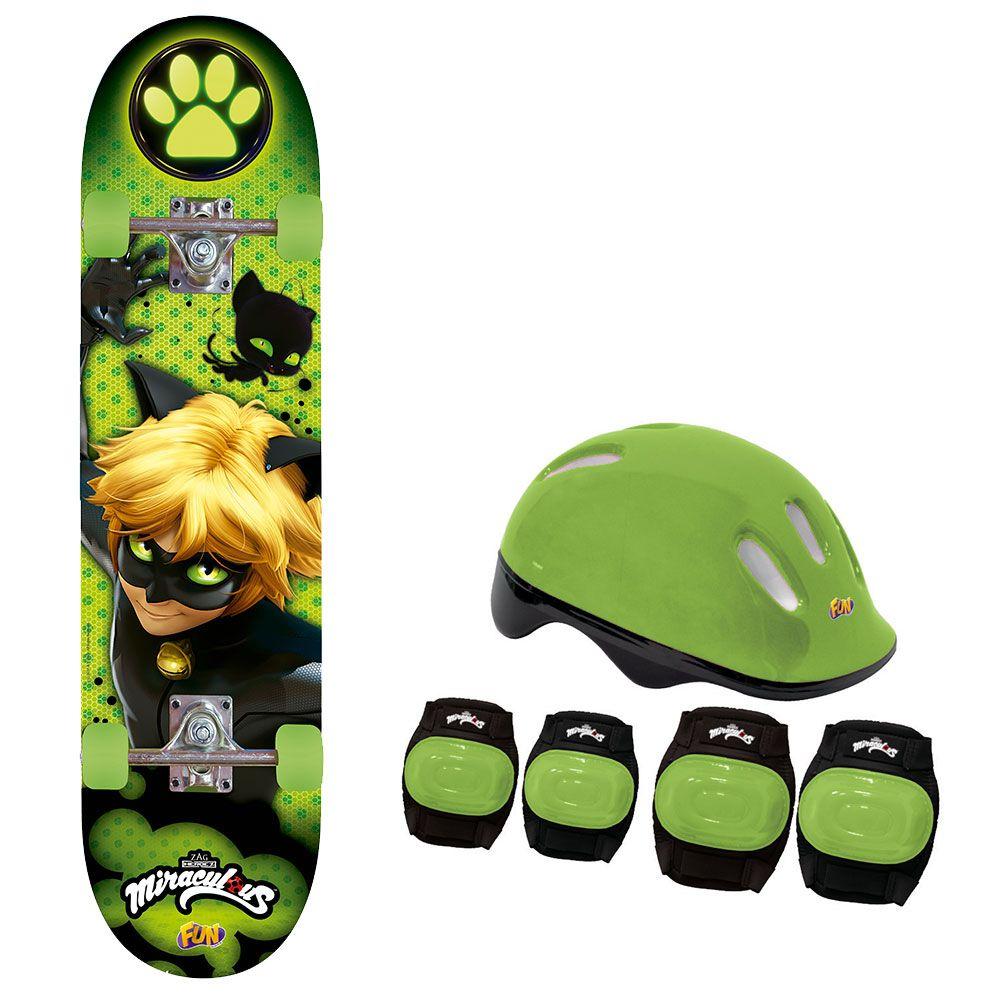 Skate Cat Noir com Acessórios de Segurança Ref. 8240-6 Fun Divirta-se