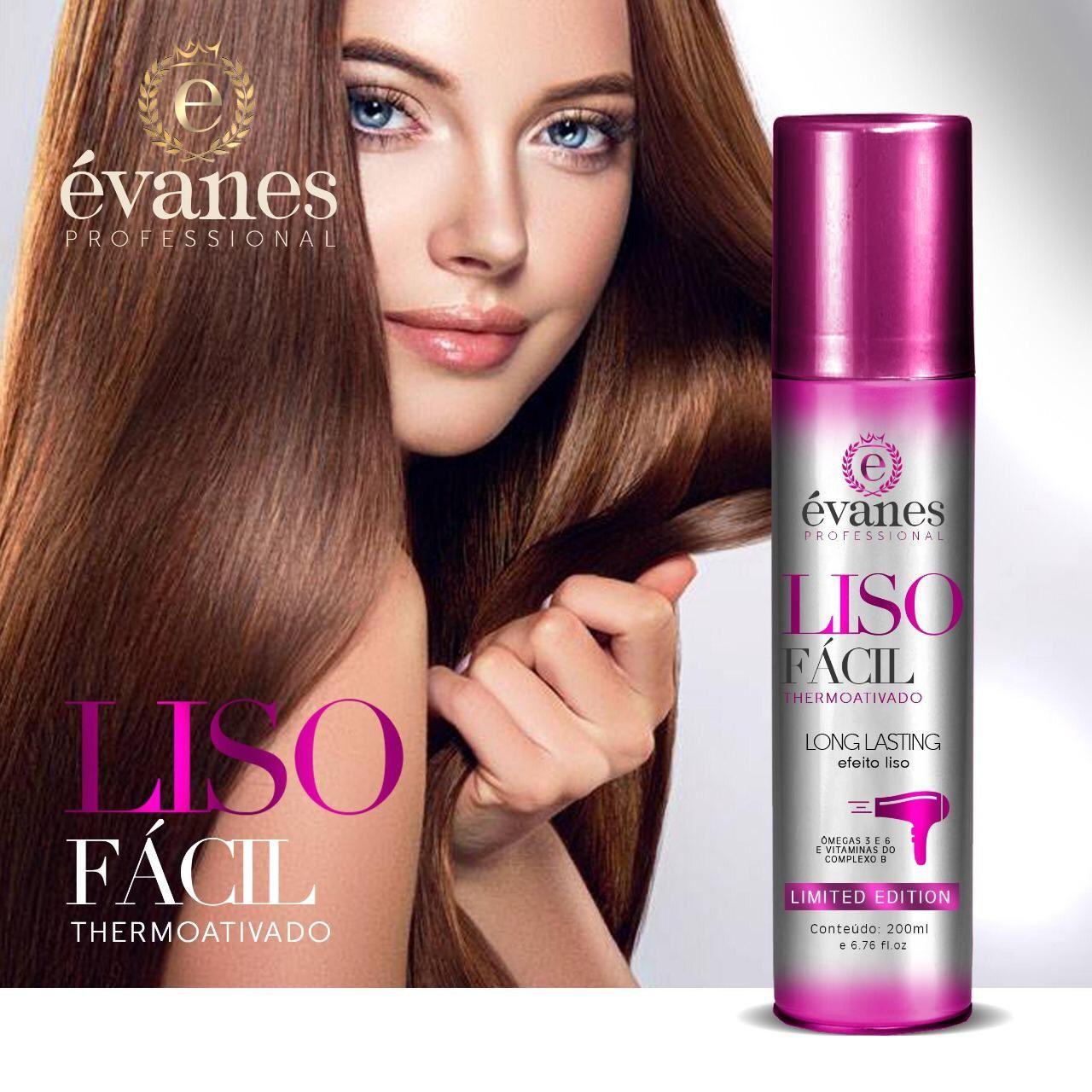 Spray Alisamento Liso Fácil Efeito Liso Thermoativado Frasco com 200ml Évanes Professional