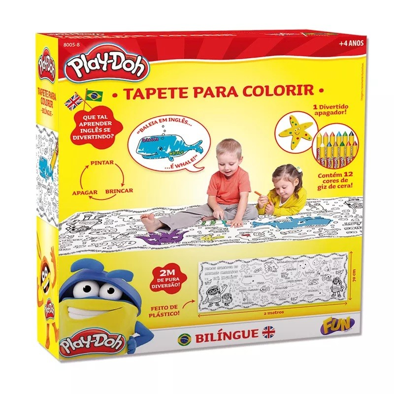 Tapete Bilíngue com Apagador para Colorir Play-Doh Fun 80058