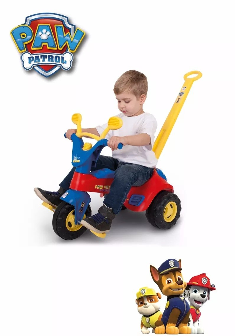 Triciclo Infantil Velotrol Patrulha Canina Azul c/ Haste Buzina Ref. 2155 Cotiplás
