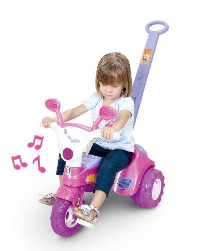 Triciclo Velotrol Baby Music Rosa c/ Haste e Som Cotiplás Ref. 1802