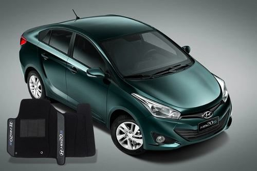 Tapete Hyundai Hb20s Carpete Luxo Base Borracha Pinada
