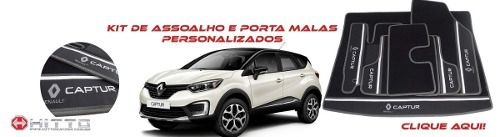 Kit Tapete Captur Carpete Luxo Base Borracha Pinada Hitto