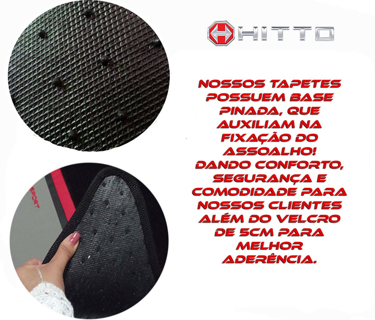 Jogo Tapete Cross Up Carpete Luxo Base Borracha Pinada