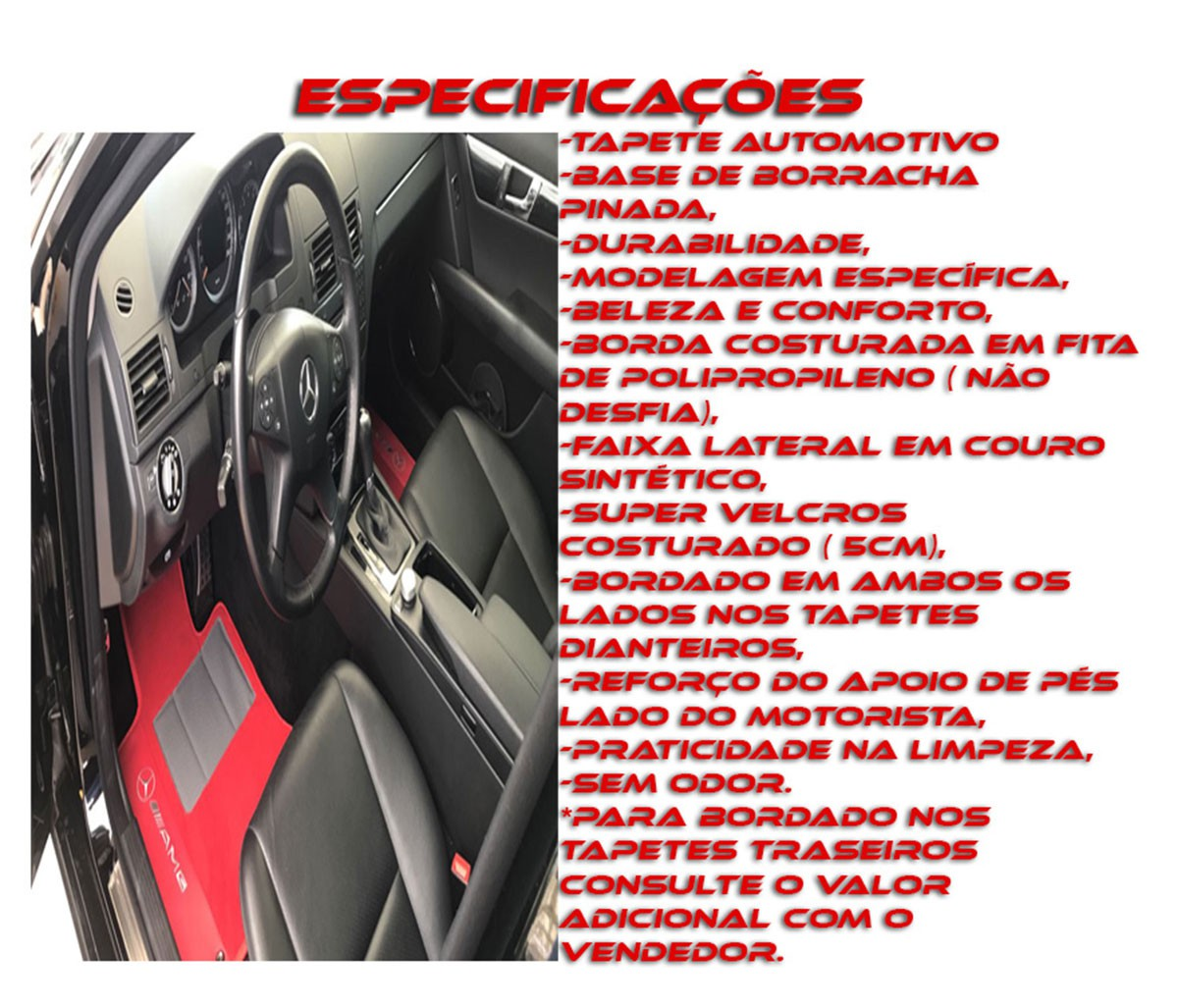Tapete Camaro Ss Carpete Luxo  Base Borracha Pinada