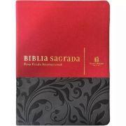 Bíblia NVI com espaço para anotações - Luxo Vermelho e Cinza