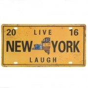 Placa Carro Metal Vintage - New York
