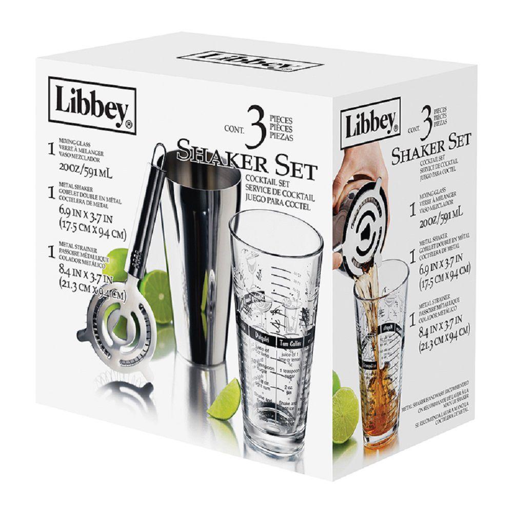 Bar Mix Jogo Shaker 3 peças para preparação de Drinks Bar - Libbey