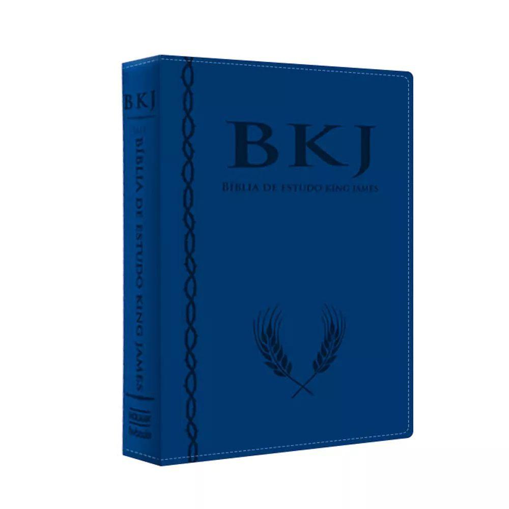 Bíblia de Estudo King James 1611 - Capa Luxo Azul - Com estudos Holman