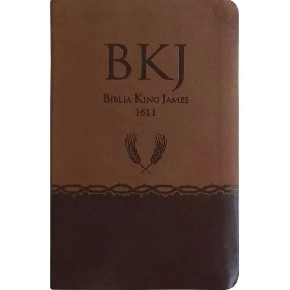 Bíblia King James Fiel 1611 - Capa Marrom Couro Sintético - Slim Ultrafina