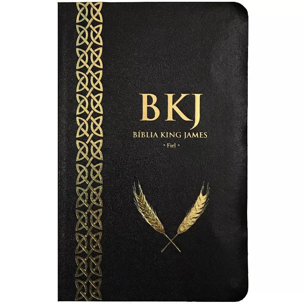 Bíblia King James Fiel 1611 - Capa Preta Couro Sintético - Slim Ultrafina