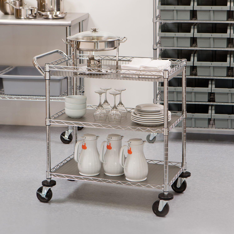 Carrinho para Chá e Café com 3 Prateleiras Aço Inox -