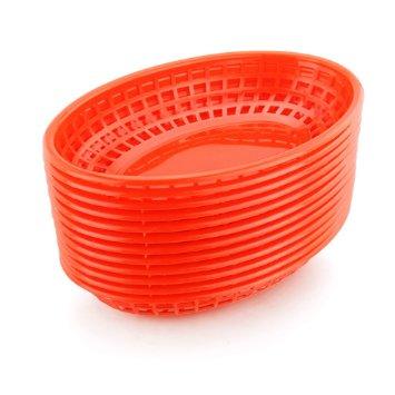Cestinha Oval para Lanches Cor Vermelha - Caixa com 36 peças