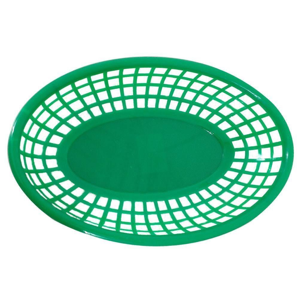Cestinha Oval para Lanches e Porções - Cor Verde - Kit 36 peças