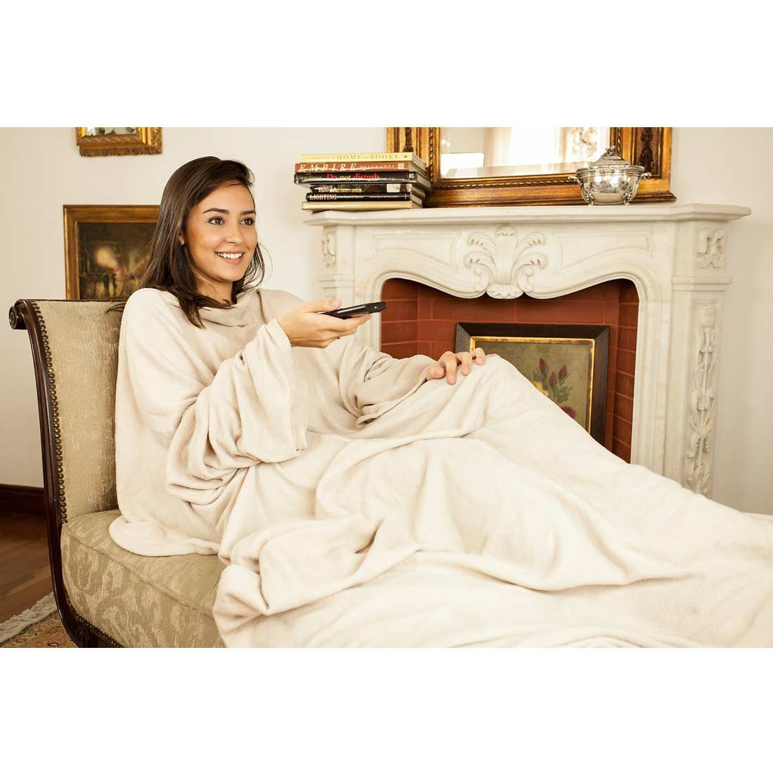 Cobertor Solteiro com Mangas TV Bege - Loani Presentes