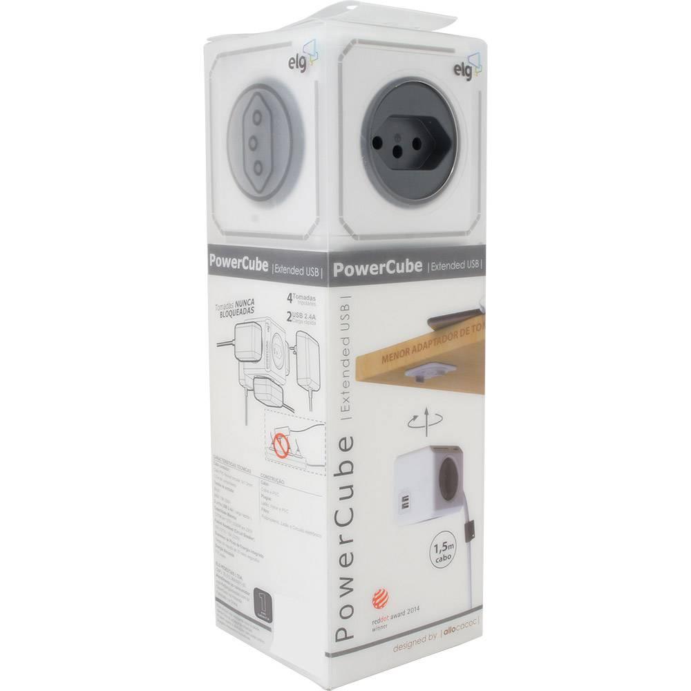 Filtro de Linha ELG PowerCube Extended USB 4 Tomadas Bivolt