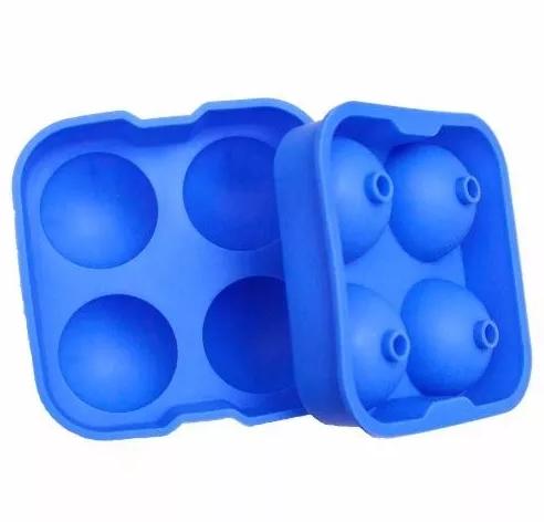 Forma Para Gelo 4 Esferas Grande - Bartender Ice Ball - Cor Azul