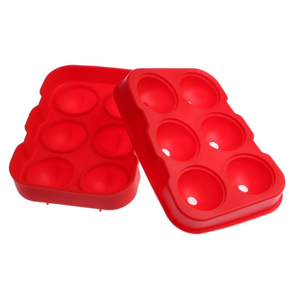 Forma de Gelo com 6 Ice Ball de 4.5cm Cor Vermelha
