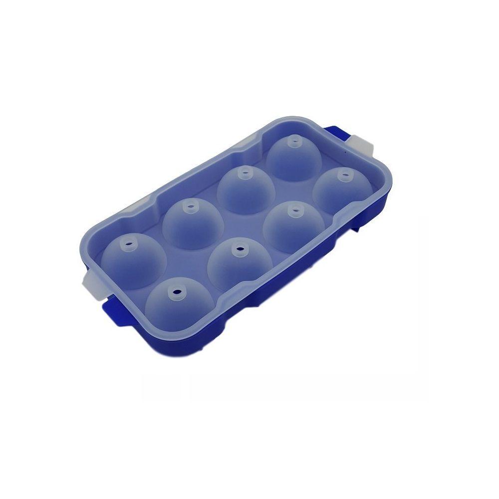 Forma de Gelo Esfera em Silicone 08 Esferas - Cor Azul