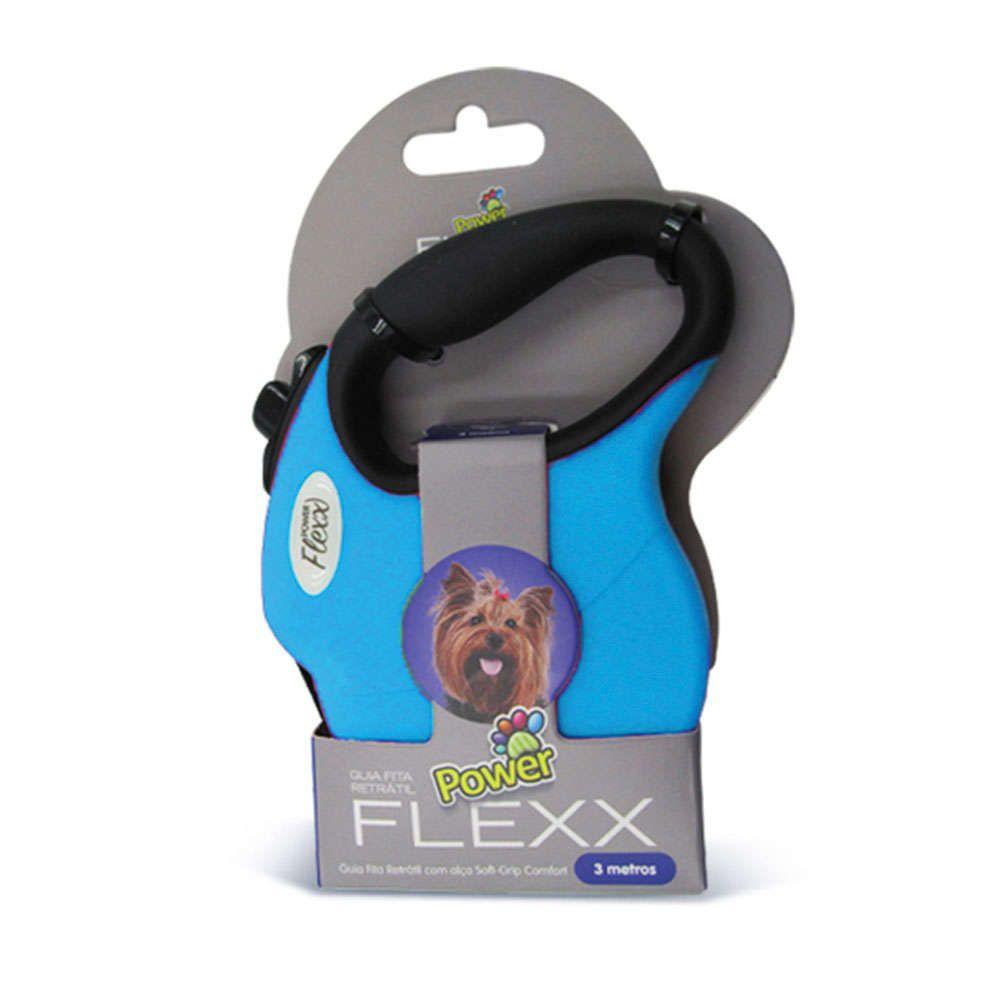 Guia para Passeio Modelo Fita Retrátil Power Flex Azul - 3 metros -  Tamanho mini - Cães de até 5 Kg