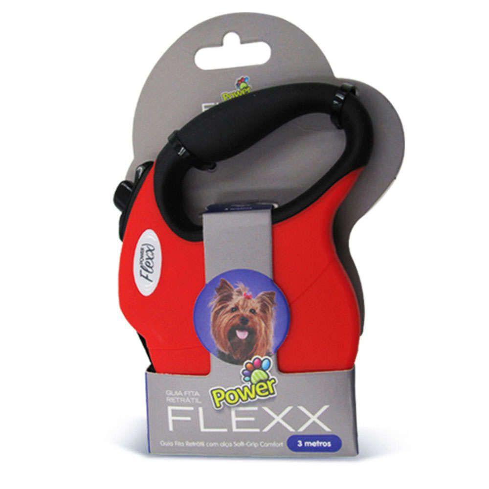 Guia para Passeio Modelo Fita Retrátil Power Flex Vermelho - 3 metros -  Tamanho mini - Cães de até 5 Kg