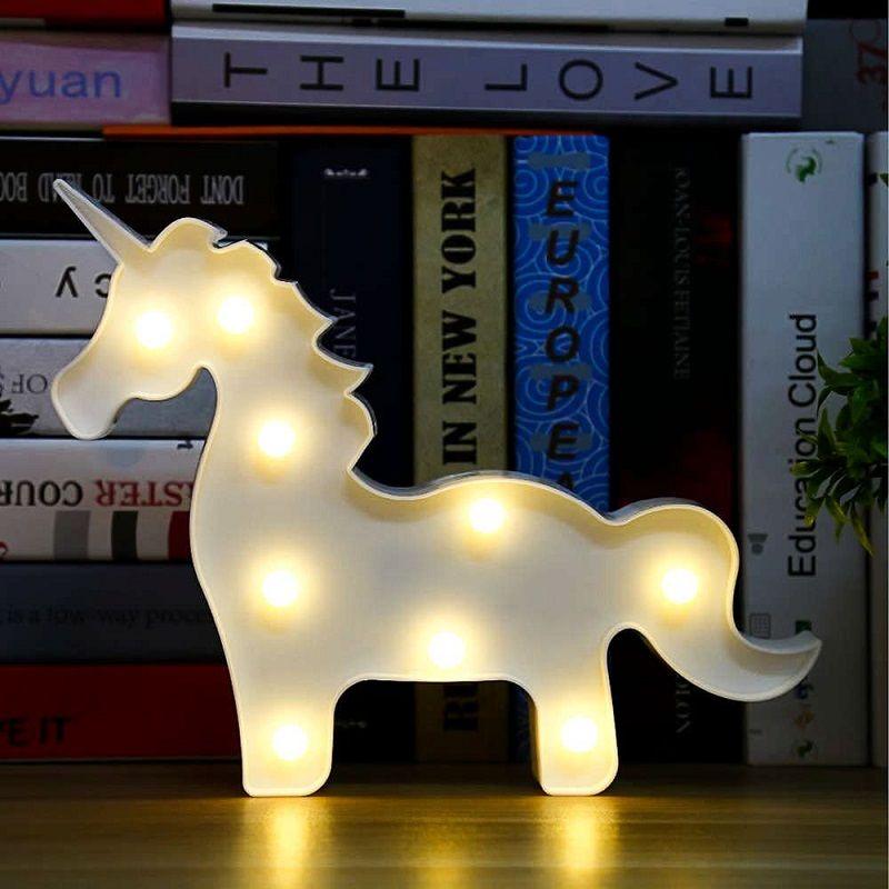 Luminária Led Unicórnio Branco Mesa Parede Decoração