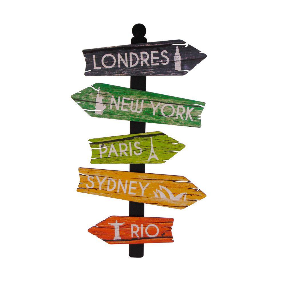 Placa Decorativa MDF  - Formato Setas Cidades  - Londres, New York, Paris, Sydney e Rio de Janeiro - Cia Laser
