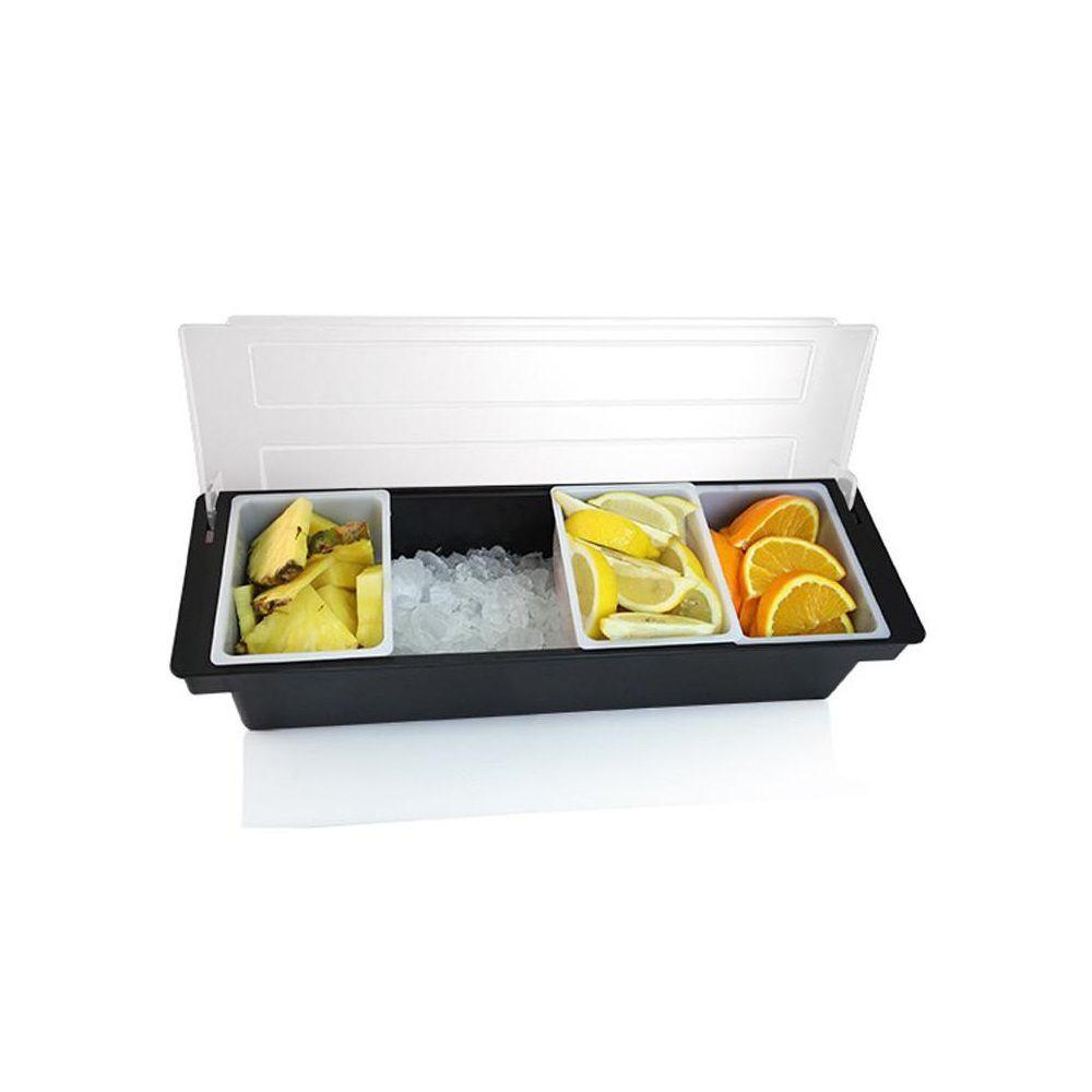 Porta Condimentos Bar Servir e Armazenar Gelo e Frutas 4 Divisões