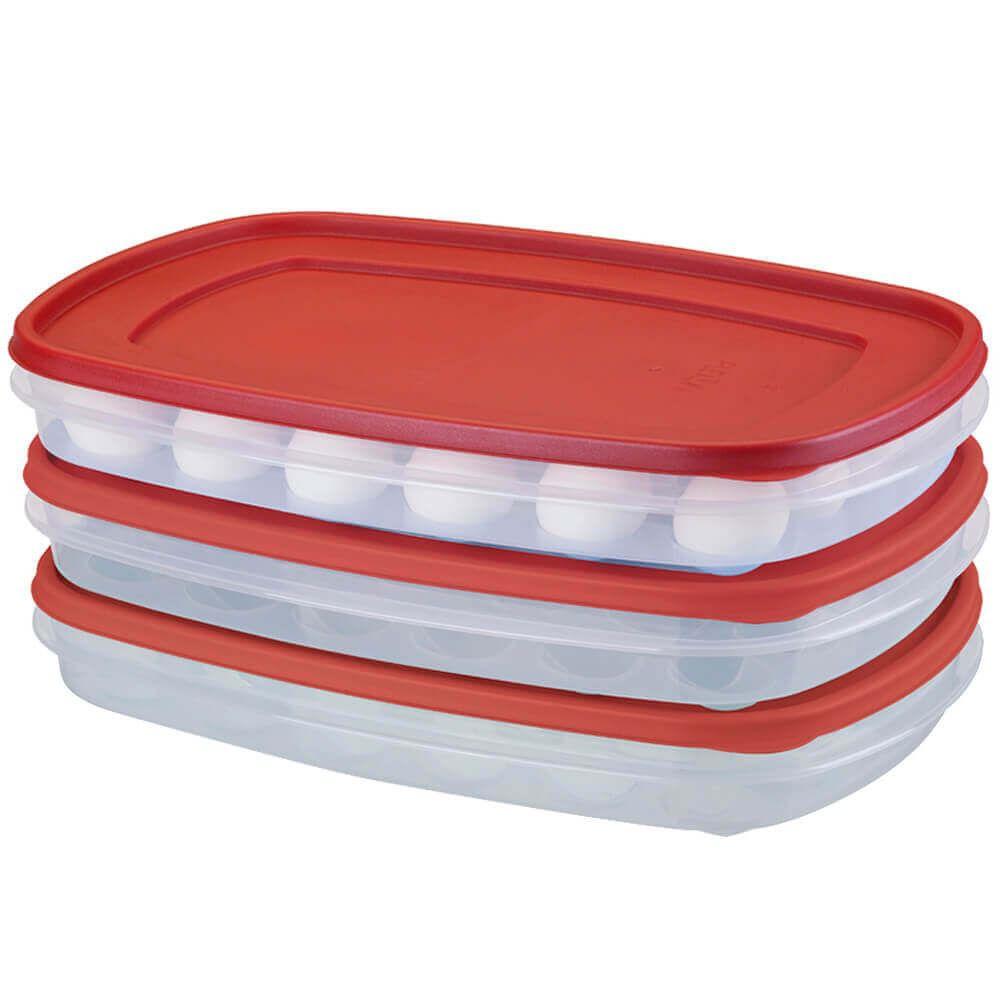 Porta Ovos Empilhável Plástico  Transparente Capacidade 24 ovos Pleion