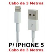 Cabo Iphone 5 5c 5s 6 Plus 6s Ipad Mini  Air 2 3 Metros Dados Carregador Usb