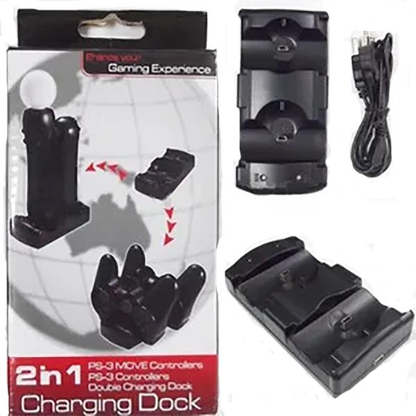 Base Carregadora 2 x 1 Para Controles Ps3 Ps Move Compatível