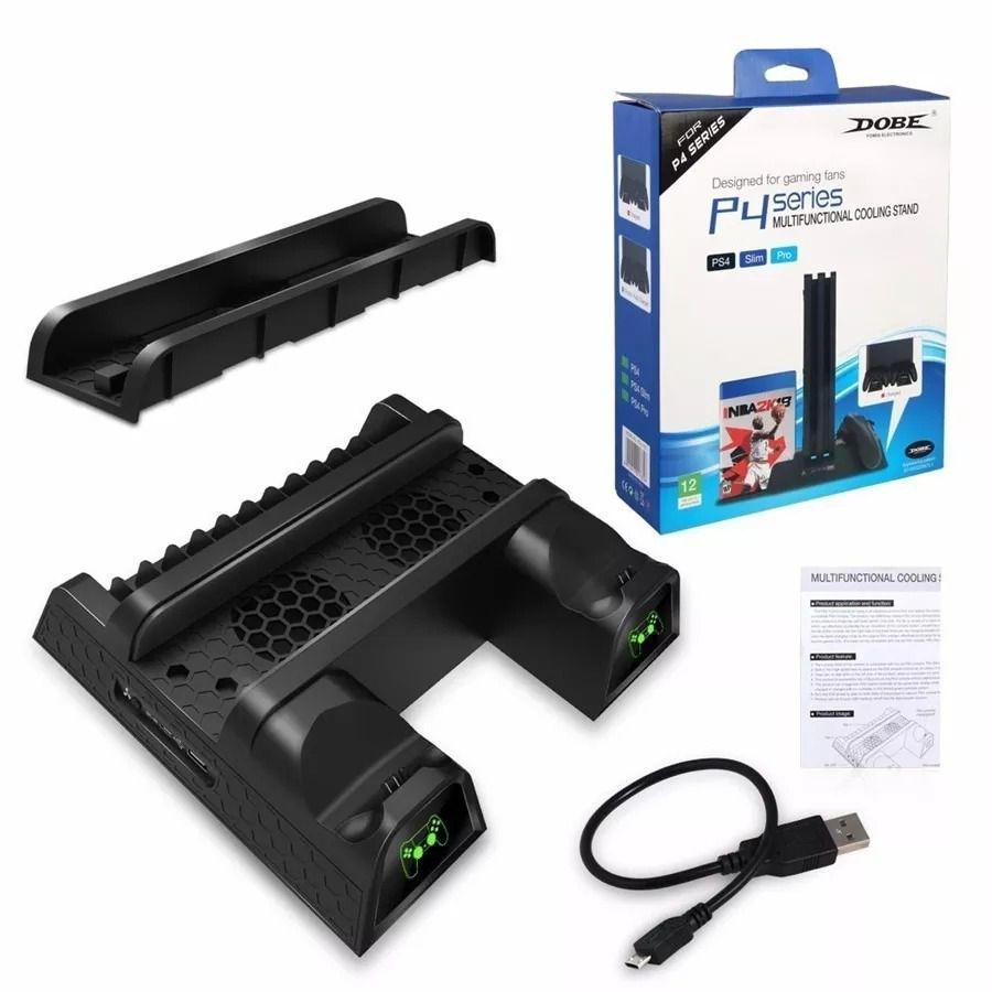 Base Cooler Carregadora Ps4 Slim Ps4 Pro Ps4 Para 2 Controles