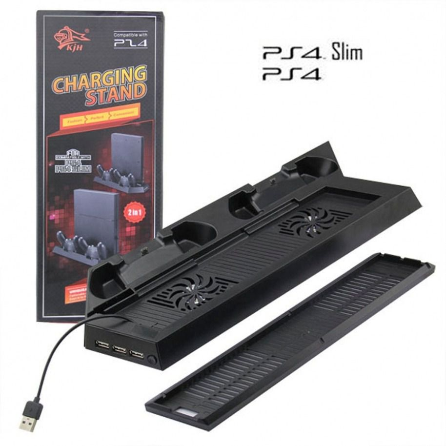 Base Vertical Ps4 Slim Com Cooler Carregador De Joystick + Hub Usb 3x1