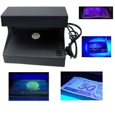 Detector Testador Dinheiro com Fonte Nota Identificador Falso Real Dolar Euro Selo