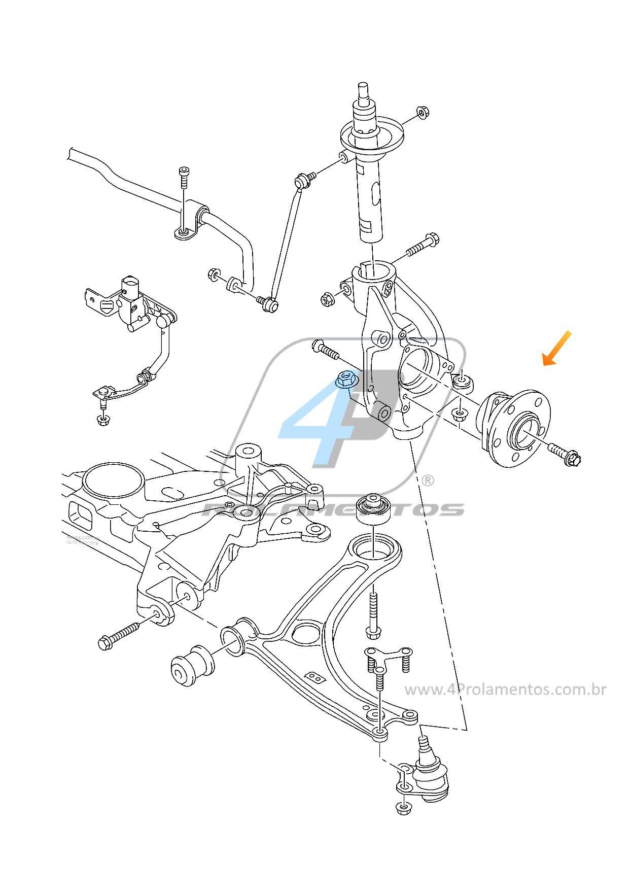 Cubo de Roda Dianteira AUDI TT 2014 até 2018, com ABS