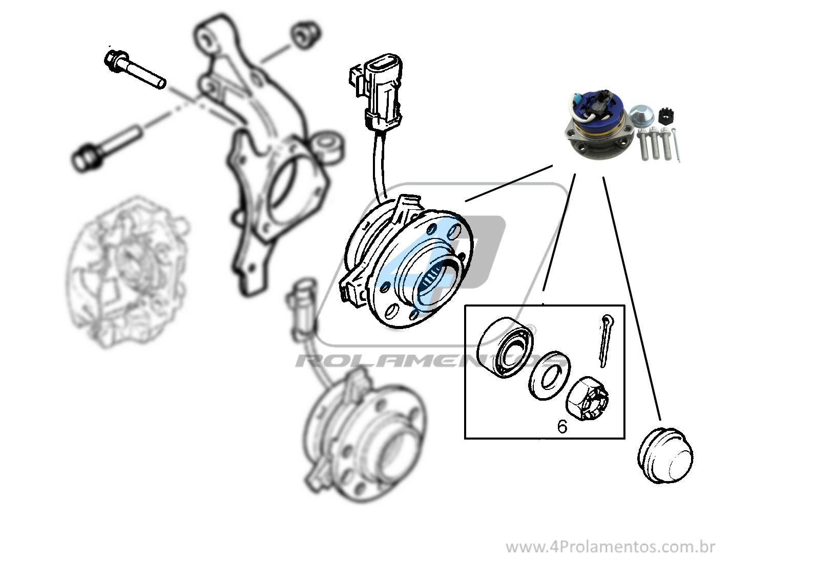 Cubo de Roda Dianteira CHEVROLET Astra 1999 até 2011, 4 furos, com ABS