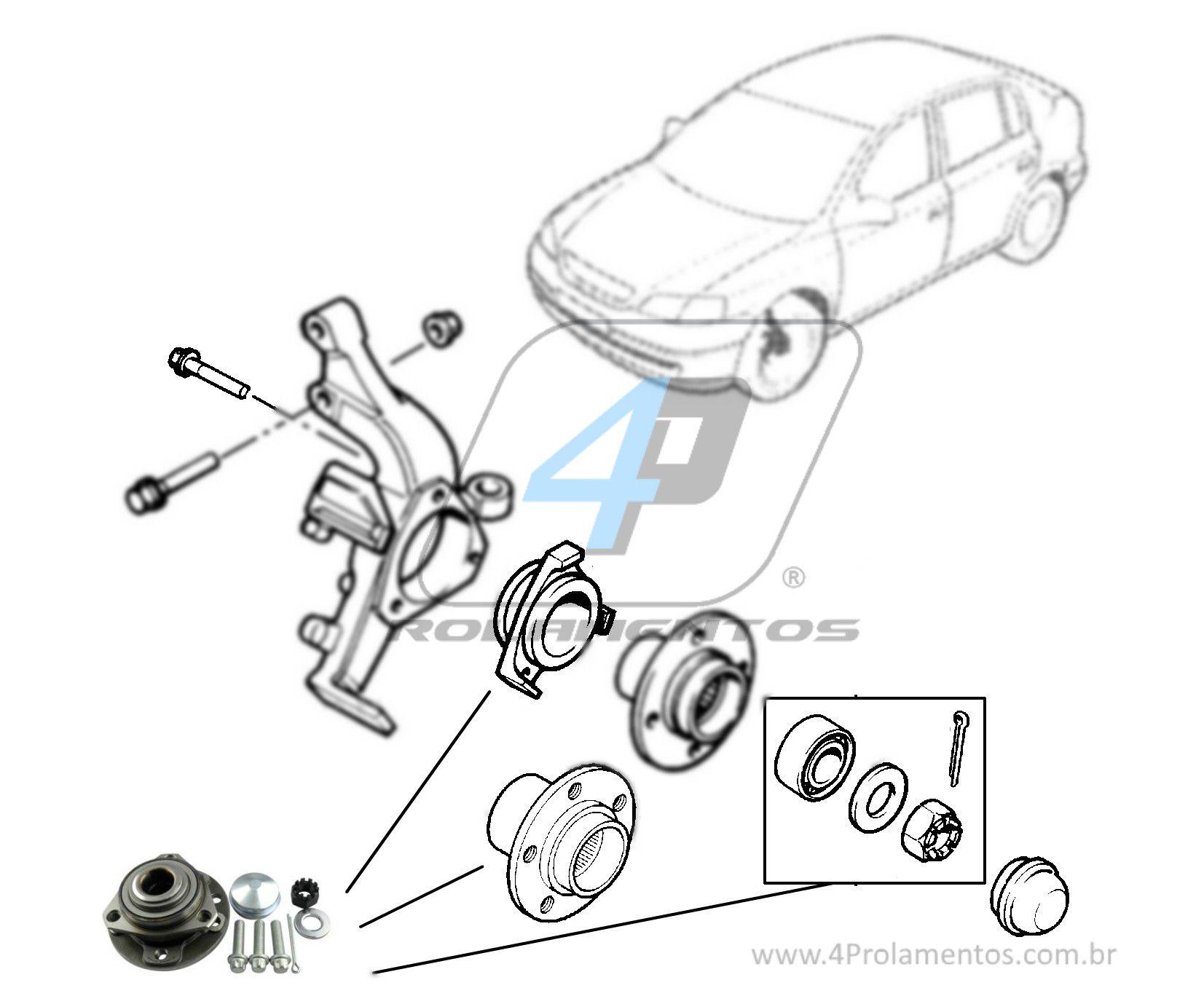 Cubo de Roda Dianteira CHEVROLET Astra 1999 até 2012, 5 Furos, sem ABS.