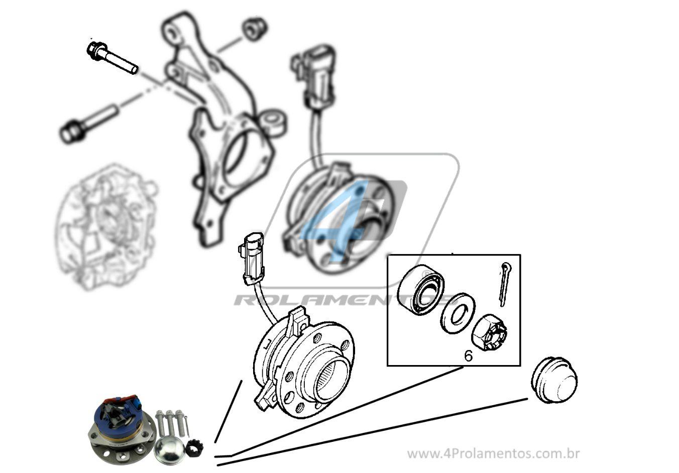 Cubo de Roda Dianteira CHEVROLET Vectra 2006 até 2011 5 Furos, com ABS,