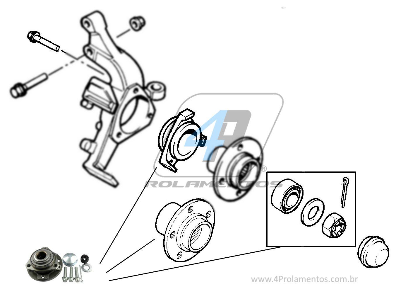 Cubo de Roda Dianteira CHEVROLET Zafira 1999 até 2012, 5 Furos, sem ABS.