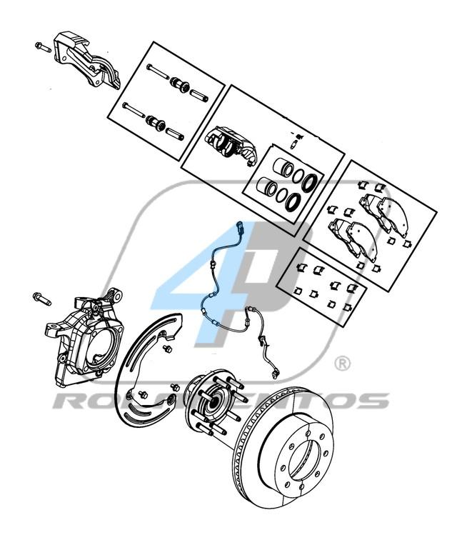 Cubo de Roda Dianteira DODGE Ram 2500 2009 até 2011, 4x4, com ABS
