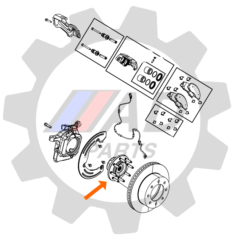 Cubo de Roda Dianteira FORD Expedition 2011 até 2014, 4x4, com ABS