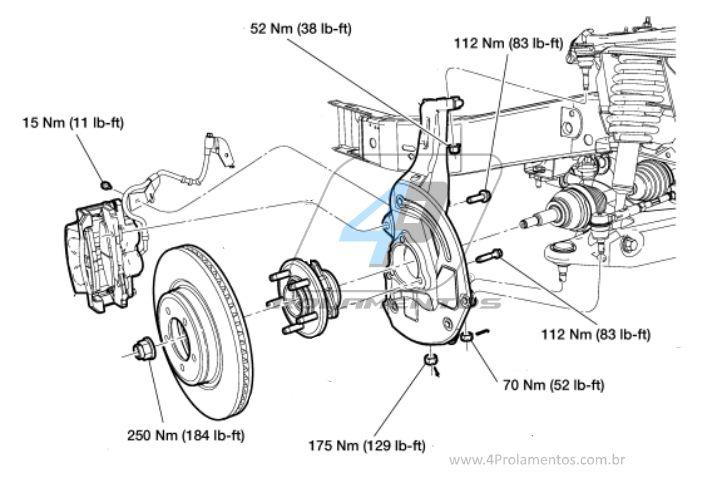 Cubo de Roda Dianteira FORD Ranger 2001 até 2012, 4x4