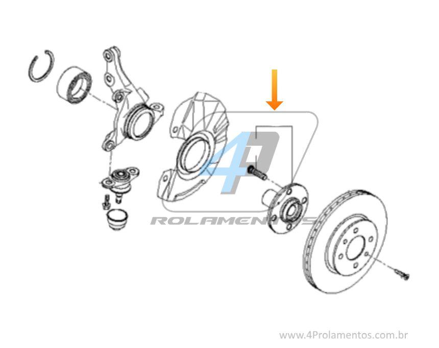 Cubo de Roda Dianteira HYUNDAI Accent 2000 até 2015