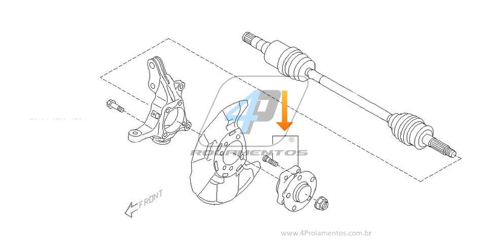 Cubo de Roda Dianteira SUBARU Crosstrek 2015 até 2018, AWD, com ABS