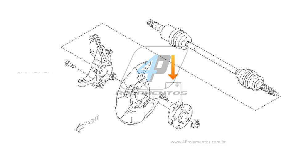 Cubo de Roda Dianteira SUBARU Impreza WRX 2008 até 2014, com ABS