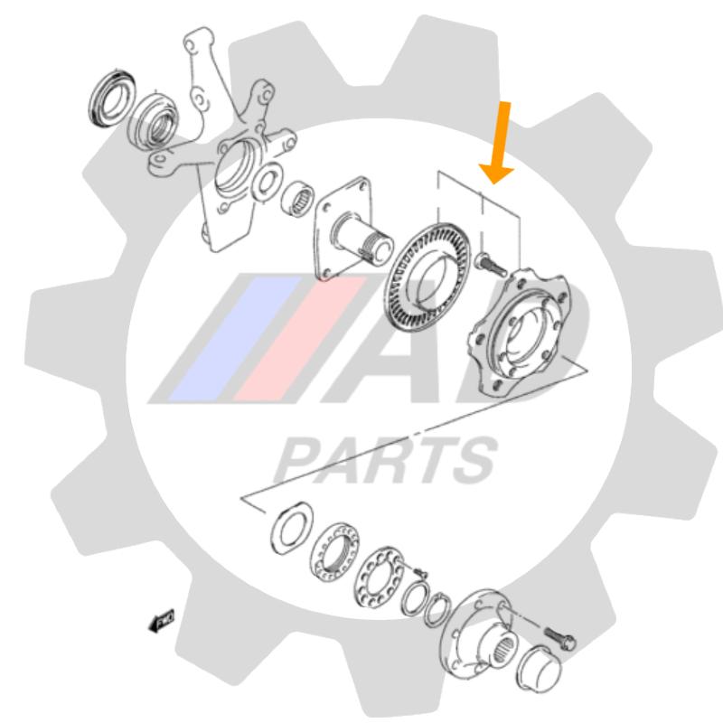 Cubo de Roda Dianteira SUZUKI Grand Vitara 1998 até 2003, ABS